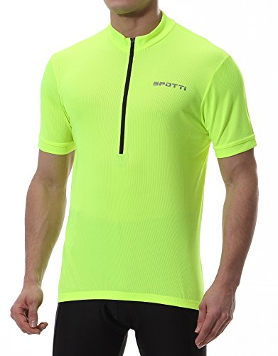 Spotti Basics Men's Short Sleeve Cycling Jersey - Bike Biking Shirt (Yellow, Chest 42-44 - XL) ()