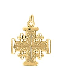 JEWELS OBSESSION 18K Cross Pendant | 18K Yellow Gold Jerusalem Cross Pendant, Made in USA