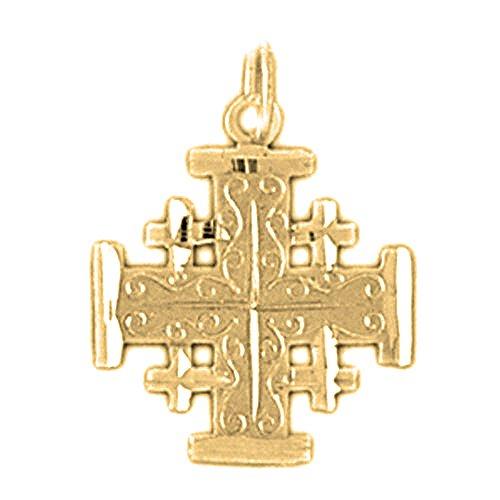 - JEWELS OBSESSION 18K Cross Pendant | 18K Yellow Gold Jerusalem Cross Pendant, Made in USA