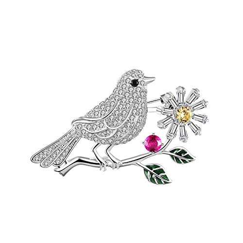 AUDIDI Brooches Pins, Luxury Full Zircon Birds on Branch Brooches Crystal Flower Enamel Green Leaves Pin Collar Bouquet Brooch Pins Animal Jewelry,gold