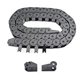 Befenybay Black Plastic Flexible Drag Chain 15X15mm 1Meter Length Cable Wire Carrier Outside Open Type R28 Internal Size for 3D Printer and CNC Machines