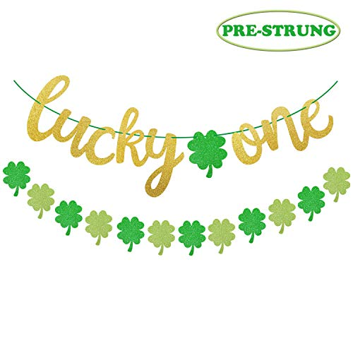 - Yaaaaasss! St Patrick's Day Lucky One Banner with Lucky Four Leaf Clover Shamrock Garland for First Birthday Party Supplies Glitter Green Baby Shower Decorations