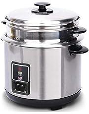 Roestvrijstalen rijstkoker, huishoudelijke ouderwetse soeppot verdikt externe staal steamer rijstkoker kan worden gebruikt in keukens, hotels, restaurants, tijd en inspanning 3L, 4L, 5L, 6L