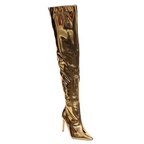 CAPE ROBBIN AH05 Women's Metallic Stiletto Over The Knee High Boots Dress Heels, Color:GOLD, (Metallic Leather Knee Boot)