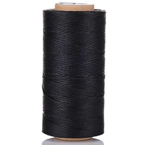Selric [24 Colors Available] 150D 0.8mm 284Yards Flat Waxed Thread Hand Stitching Cord Leather Craft Tool Leather Stitching Sewing (Black)