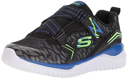 Skechers Kids Boys' Turboshift-Microflect Sneaker, Black/Blue/Lime, 4 Medium US Big Kid