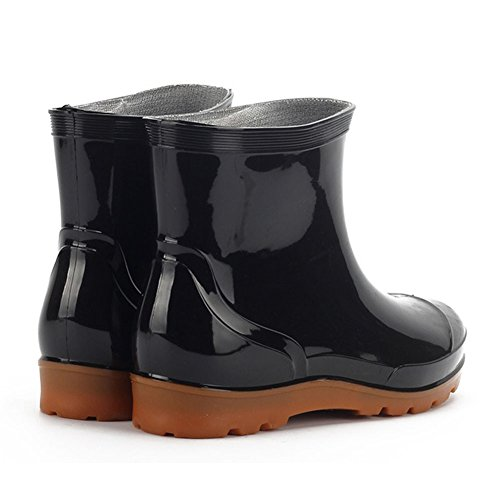 Heren Dames Pvc Kniehoge Waterdichte Regen Winterlaarzen Slip Op Zwart En Modder