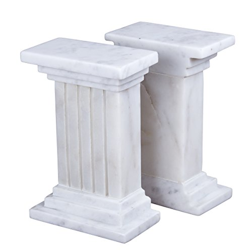 Creative Home Column Style Marble Bookends (Set of 2), 4-3/8 x 2-1/4 x 6-1/4