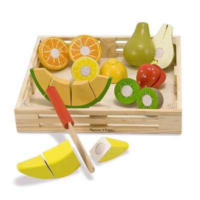 Melissa & Doug Cutting Fruit Set - Wooden Play Food Kitchen Accessory - Hand Painted Train Toy