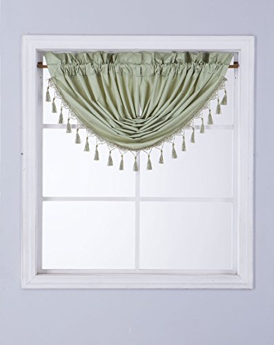 rare perfume Midwest Window Treatment Collection 1PC Solid Foam Lined Blackout Panel Half Window Curtain OR Valance Room Darkening in SAGE Green, (RS8) Valance