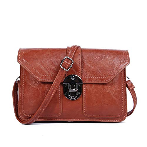 (Multi Pocket Small Purse Cell Phone Wallet Vegan Leather Crossbody Bags for Women by TENXITER(Rust Red))