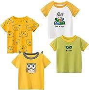 Kivors Toddler Girl's 4-Pack Dinosaur Short-Sleeve Crewneck T-Shirts Cartoon Cotton Top Tee Size for 2-6 Y