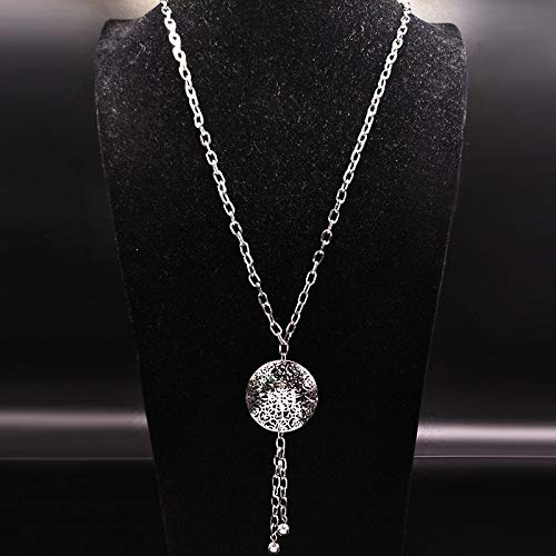 Davitu Fashion Flower Stainless Steel Long Necklaces Women jewlery Round Silver Color Tassel Necklace Jewelry Collar Mujer N18036