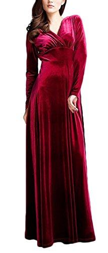 V Donna Ad Eleganti Hippie Vestito Collo Giovane Velluto Abito Sera Lungo Vestiti Rosso Da Manica Moda Swing Cocktail Alta Linea A Lunghi Vita Lunga c1KJTlF