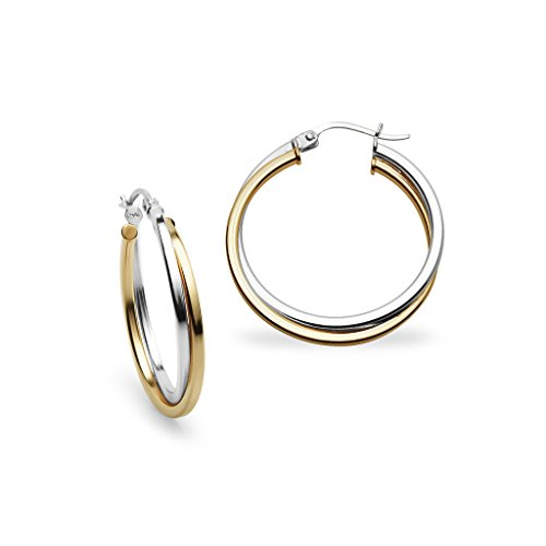 Sterling Silver and Yellow Gold Flashed Silver Two-Tone 25mm Square-Tube Twist Hoop ()