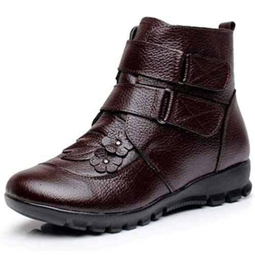 inter Genuine Leather for Women Flat Flower Waterproof Warm Cow Leather Short Snow Boots Brown ()