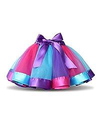 TRADERPLUS Baby Girls Layered Rainbow Tutu Skirt Ballet Dance Dress Ruffle Costume