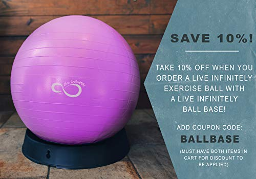 Live Infinitely Exercise Ball (55cm-95cm) Extra Thick Professional Grade Balance & Stability Ball- Anti Burst Tested Supports 2200lbs- Includes Hand Pump & Workout Guide Access Purple 75cm by Live Infinitely (Image #5)