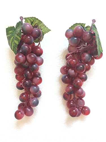 Gecter 2 Bunches of 45Pcs Artificial Grapes Cluster Simulation Fake Fruit Home House Kitchen Party Decor Lifelike(Purple) Bunch Of Grapes