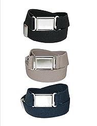 CTM® Kids Elastic Adjustable Belt with Magnetic Buckle (Pack of 3 Colors), Black / Navy / Khaki