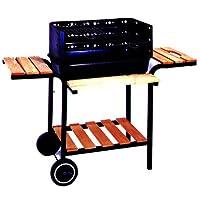 Grillstation schwarz groß Basis Balkon Garten Picknick ✔ Rollen ✔ Seitentische beidseitig ✔ eckig ✔ rollbar tragbar ✔ stehend grillen ✔ Grillen mit Holzkohle ✔ mit Station ✔ mit Rädern