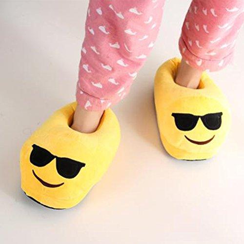 pantoufle smiley hiver les Emoji peluche Noël 31 Pantoufles BP en intérieure 41CN pour hommes peluche et Poo les Cool femmes Pantoufles Slipper Xw67vB