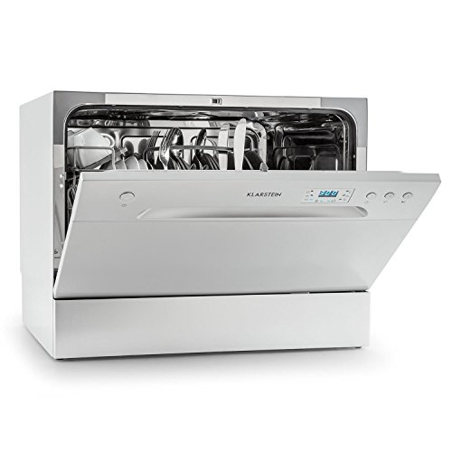 Klarstein Amazonia 6 lavavajillas A+ (1.380 W, 6 cubiertos, 6 programas de limpieza, 49 dB, funcion Aquastop, cesto para cubiertos y bandeja adicional, programable) - plateado