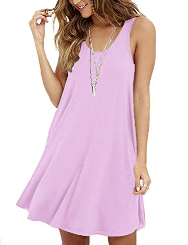 Viishow Women's Casual Swing Simple T-Shirt Loose Dress Beach Cover up(M, ()