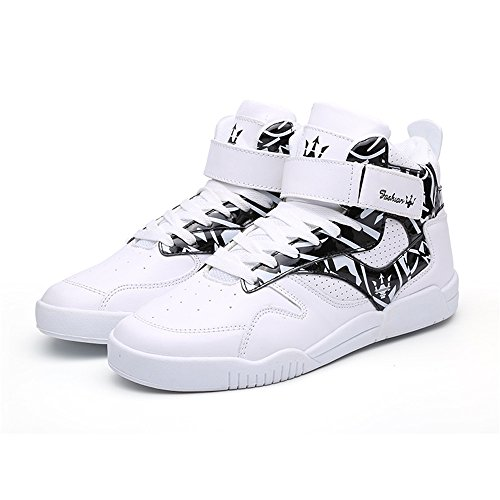 Black High Sports Casual FZUU Top Fashion Shoes White Street Men's Leather Sneakers qBgPpHw