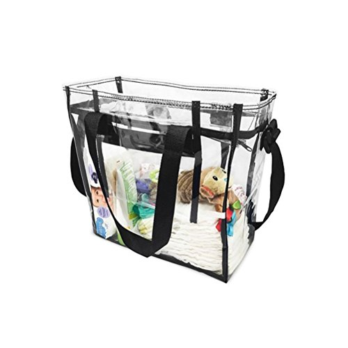 Bag Yiuswoy Womens Zippe Adjustable amp; Bags Transparent Beach Bag Tote Tote Waterproof Strap Large Clear With Stadium wrtqZdAr