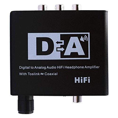 SODIAL Digital to Analog Audio HiFi Head Phone Amplifier with Toslink Coaxial(US PLUG)