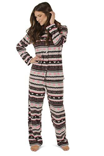 Totally Pink Women's Warm and Cozy Plush Fleece Winter Two Piece Pajama Set Teen and Girls (Large, Fair Isle) (Fleece Pajama Set)