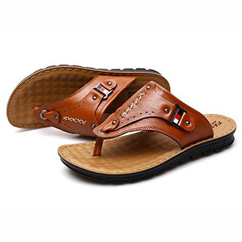 XIAOLIN Sandalias y sandalias de cuero del verano sandalias de los hombres Zapatillas antideslizantes del sexo del pie de los pies Zapatillas de playa al aire libre de la tendencia (tamaño opcional) ( 02