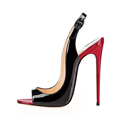 Fibbia Slingback a Spillo Scarpe Toe con Caviglia Sandali Peep Donna EDEFS RedBlack Tacco Cinturino x7SR1H