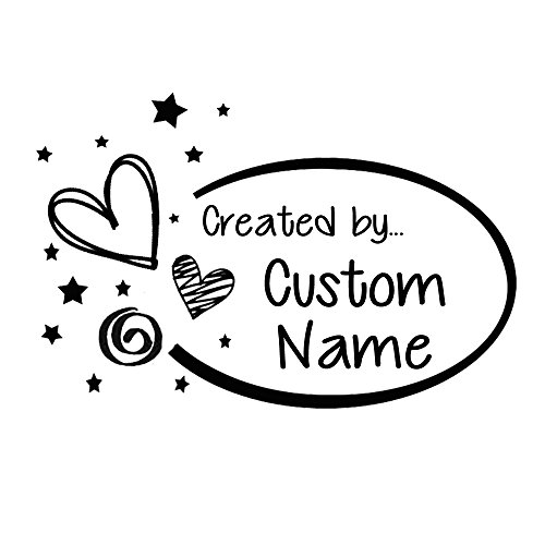 Heart stardust oval frame design Handmade with love by Created by personalized custom name Self inking text business pre ink stamp - Heart Double Place Card Frame