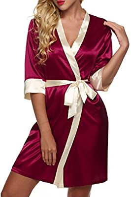 Vansop Women Elegant Patchwork Satin Lace Long Sleeve Bath Robe With Belt(XS-XL)