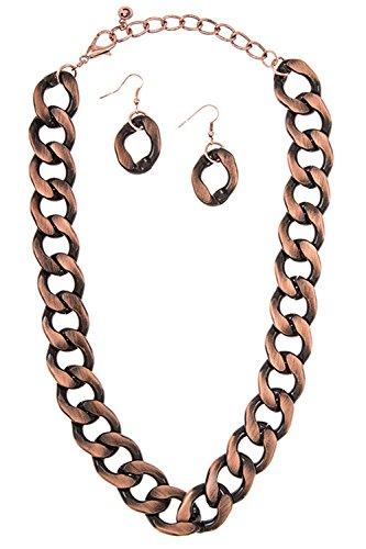 GlitZ Finery Medium Link Flat Chain Accent Strand Necklace Set (Burnished Copper)