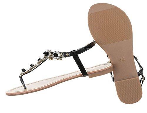 Damen Sandalen Schuhe Sommerschuhe Strandschuhe Zehentrenner Schwarz Blau Gold Rot Silber 36 37 38 39 40 41 Schwarz