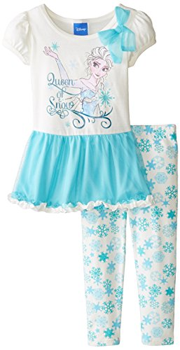 887847675413 - Disney Girls' Frozen 2-Piece Legging Set, Snow Blue, 2T carousel main 0