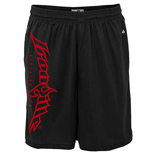 Ironville Gym Weightlifting Shorts Vertical Logo (XL, Black with red Ink)