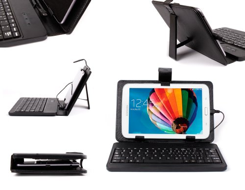 Black Faux Leather Protective Case with Micro USB Keyboard & Built-in Stand - Compatible with Samsung Galaxy Tab 3 V|Galaxy Tab 3 Lite 7.0 VE (SM-T116NU / SM-T113)