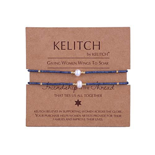 - KELITCH Shell Pearl Seed Bead Friendship Bracelets Handmade Adjustable String Bracelets #N, 2 Pcs