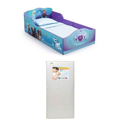 Delta Children Wood Toddler Bed, Disney Frozen  with Twinkle Stars Crib & Toddler Mattress