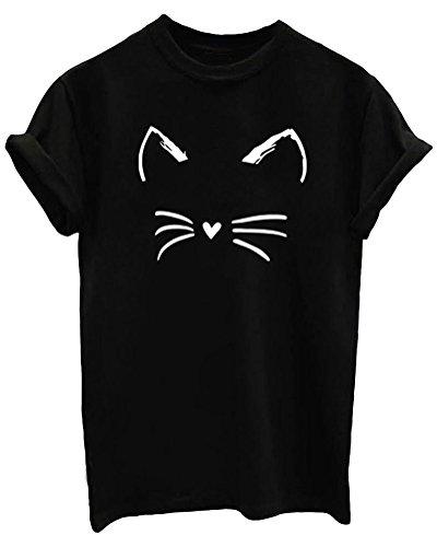 LOOKFACE Women's Cute T Shirt Junior Tops Teen Girls Graphic Tees Black Medium ()