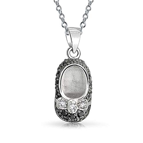 - Two Tone Black White CZ Baby Shoe Charm Pendant Necklace For New Mother Women Cubic Zirconia Engravable Sterling Silver