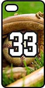 Baseball Sports Fan Player Number 33 Black Plastic Decorative iPhone 6 Case