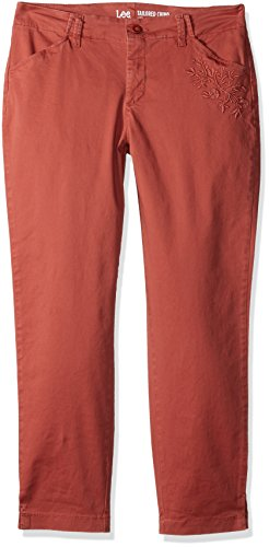 LEE Women's Eased Fit Embroidered Tailored Chino Ankle Pant, Vintage Deep Rose, 14 Tailored Chino
