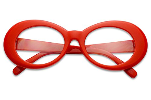 Colorful Oval Kurt Cobain Inspired Mod Round Pop Fashion Sunglasses (Red, Clear) (Sunglasses Clear Red All Round)