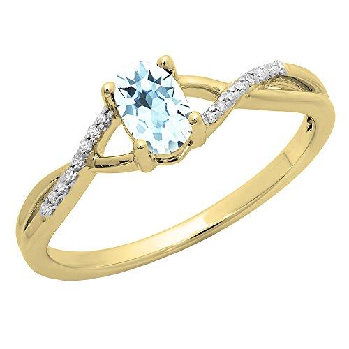10K Yellow Gold 6X4 MM Aquamarine & White Diamond Bridal Swirl Engagement...