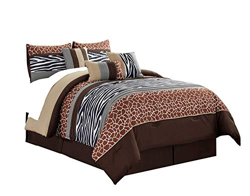 WPM 7 Piece Animal Print Comforter Set. Coffee Brown/Beige/White Zebra Giraffe Embroidered Bed in a Bag Bedding- Pancho (King) (Animal Set Print Comforter)